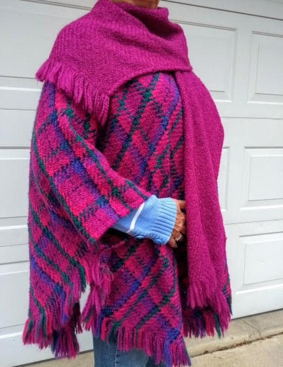 Hand Woven Irish Wool Cape - Jeweltone Plaid Cape