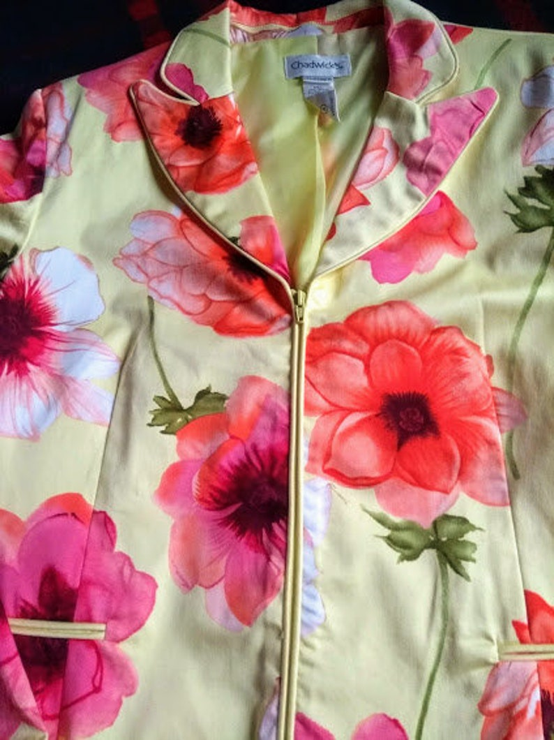 Chadwick 1990s Ladies Size 14 - Cotton Blend Lined Zip Fitted Blazer Vintage Floral Jacket