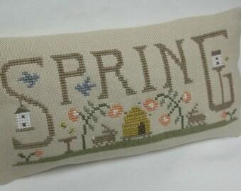 Spring Primitive Cross Stitch Mini Pillow , Beehive, Birdhouse, Rabbit