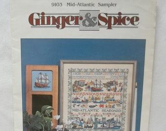 Mid Atlantic Cross Stitch Sampler Pattern, Vintage 1990's, Ginger Gouger