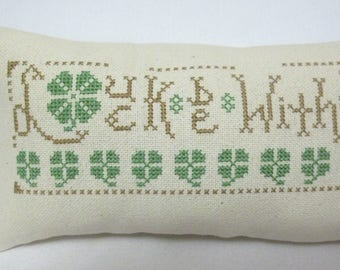 St Patrick's Day Luck Be With You Cross Stitch Mini Pillow Shamrocks