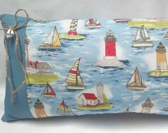 Nautical Sailboats And Lighthouses Decorative Pillow Ocean Beach Decor