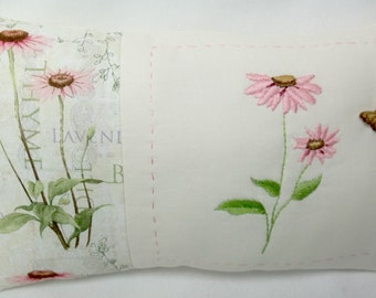 Coneflower Hand Embroidered Pillow, Flower Accent Pillow, Mother's Day, Summer,