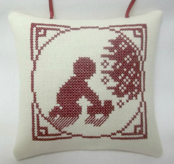 Cross Ornament For Girl Or Boy: Boy Christmas Ornament Cross Stitch Playing With Toy Truck