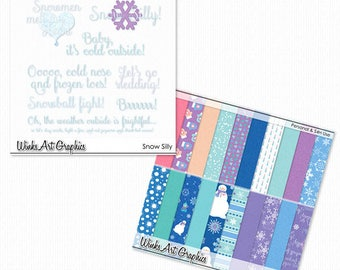 Snow Silly Digital Scrapbook Papers & Word Art