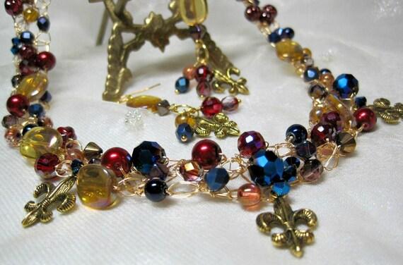 Draht Häkeln Perlen Halskette Set In Rot Gold Und Blau Fleur Etsy