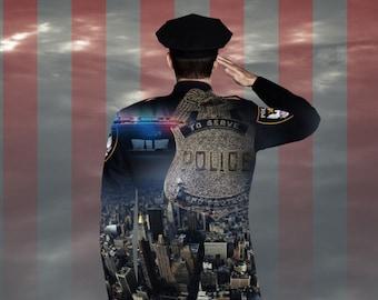 Saluting Police Memorial Poster Art Law Enforcement Large Customizable Remembrance Fallen Officer Commemorative