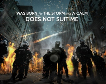 Riot Police Poster Motivational Art Officer Law Enforcement Fire Protest Andrew Jackson Quote Brave Courage Strong Canvas