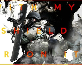 """Police SWAT Poster Art """"With My Shield or On It"""" Spartan Laconic Tactical Team Law Enforcement Trendy Modern Large Custom"""
