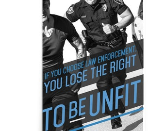 Police Fitness Poster Workout Motivational Art Officer Law Enforcement Thin Blue Line Academy Cadets Modern Large Original Gift Office Wall