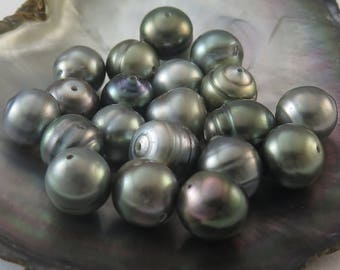 Pearl size: 10.00-10.99mm #16 20 Dollars a Pearl Drilled to 1mm AA SAVE 10/%  PACK Of 5 Circle Tahitian Black Pearls Light