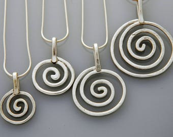 Metal jewelry, silver jewelry- large silver spiral necklace, swirls necklace