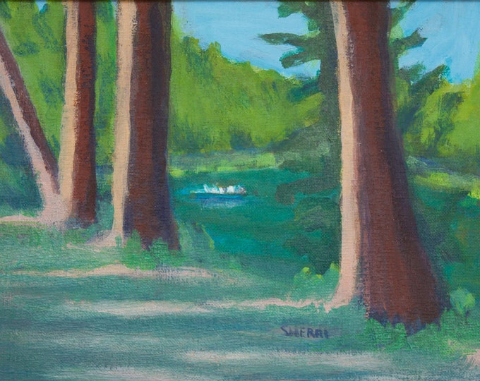 Deschutes River Original Painting Drifting by the Old Ones 9x12 inches unframed  by Sherri McDowell Artist