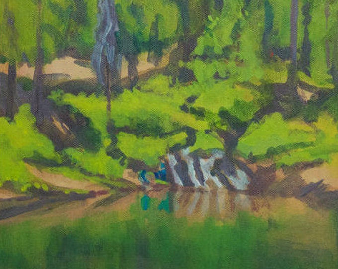 Fishing Painting Wickiup Reservoir Oregon Original by Sherri McDowell Artist