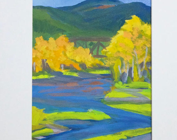 Autumn Golden Maples at Salmon Creek Trestle Oakridge Oregon Gouache on Paper Matted Sherri McDowell Artist Oregon by heART