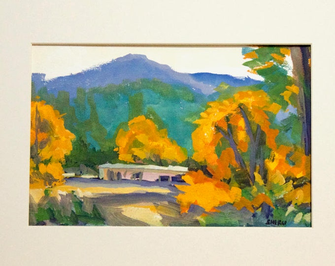Maple Fire Oakridge Oregon Landscape Painting Gouache on Paper Matted Sherri McDowell Artist Oregon by heART