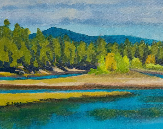 Landscape Painting Wickiup Island Autumn Oregon by heART Acrylic on Canvas