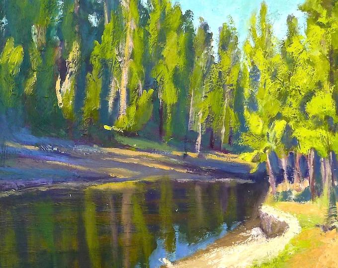 Deschutes River Where Will the Fish Go? canvas print 20x16 inches unframed