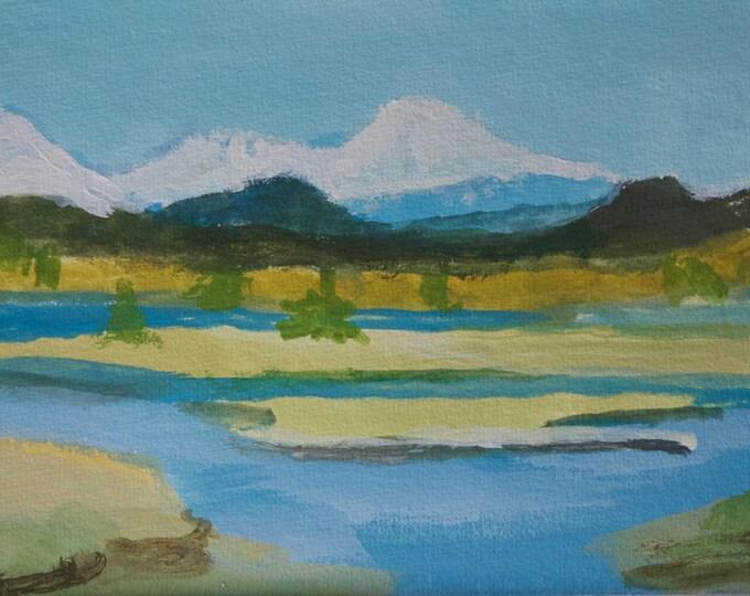 Original Plein Air Painting East Davis Lake CG by Sherri McDowell Artist 6x9 inches gouache matted free shipping