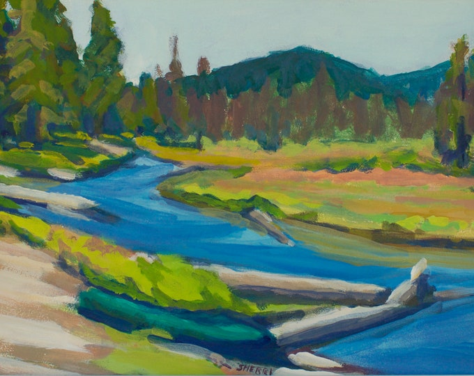 Odell Creek Kayak EDLCG Oregon Original Landscape Painting by Sherri McDowell Artist