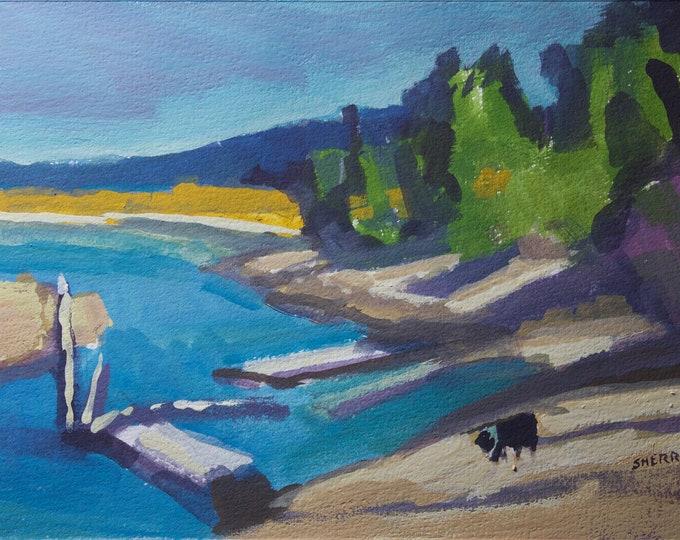 Quiller Dog at East Davis Lake CG Oregon Art by Sherri McDowell Artist 6x9 inches unframed gouache on paper