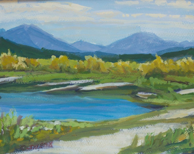 Drift Original Landscape Painting by Sherri McDowell Artist 8 x 12 inches Gouache on Paper Matted to 12 x 16 inches