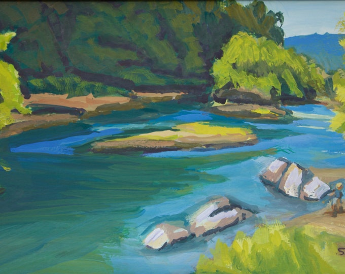 Landscape Painting Summer Day at Greenwaters Park Willamette River Oregon Sherri McDowell Artist