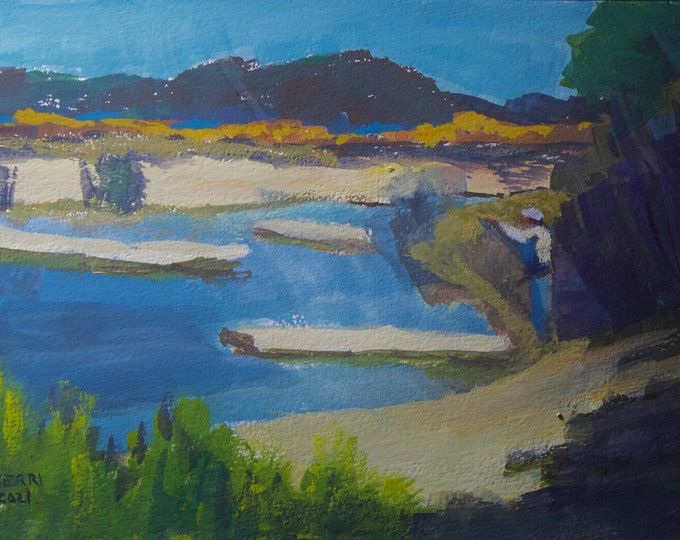 Fishing Odell Creek Oregon Original Painting 6x9 inches gouache on paper unframed