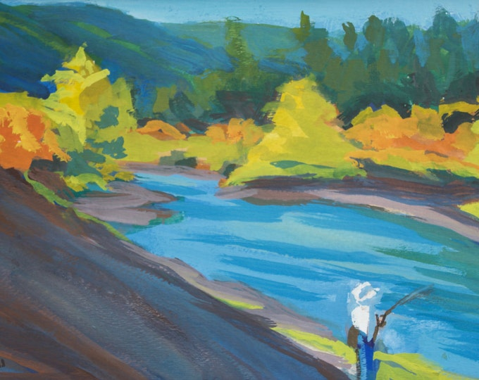Autumn Fishing Painting Cowboy Fisherman Oakridge Oregon Sherri McDowell Artist Oregon by heART