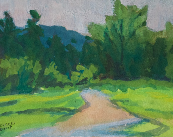 Red Road Green Trees original landscape painting by Sherri McDowell Artist gouache 6x9 in matted