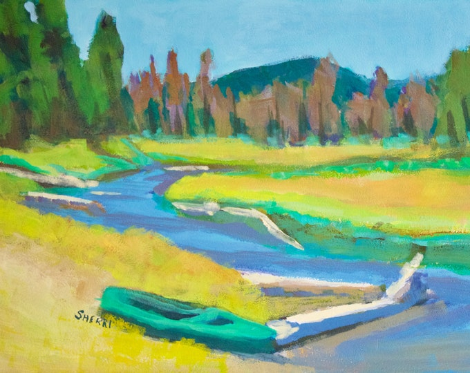 Odell Creek After the Wildfire original painting by Sherri McDowell Artist 9x12 Acrylic on panel