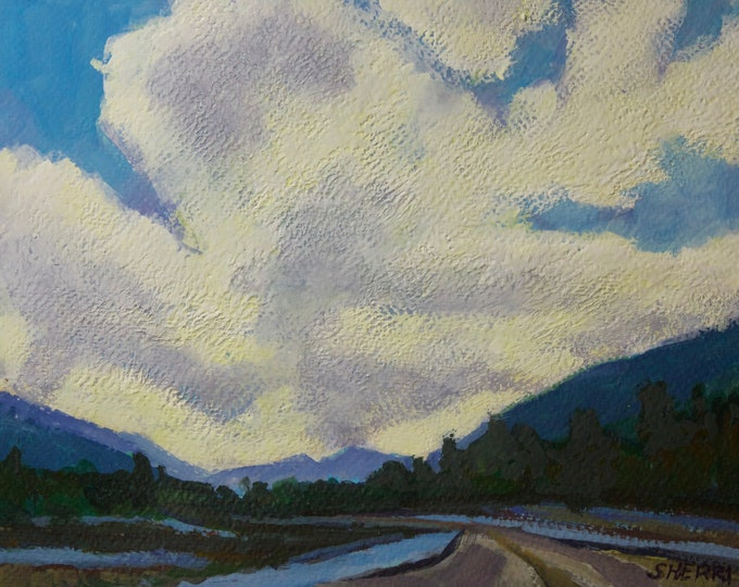 Original Painting Evening Walk Oakridge Industrial Park by Sherri McDowell Artist 9x12 matted