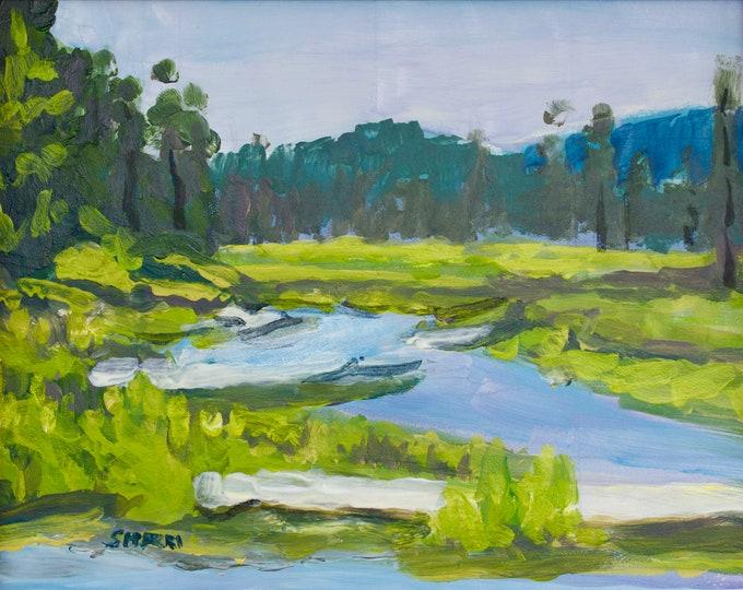Odell Creek Oregon Painting Restoration 8x10 inches  Acrylic on Panel Sherri McDowell Artist Unframed