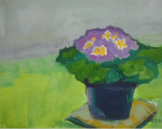 Primrose in a Pot Original Mixed Media Painting 8x12 inches Matted by Sherri McDowell Artist