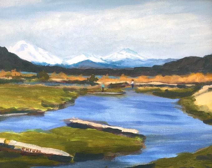 Plain Blue Landscape Painting Acrylic on Panel 9x12 Unframed Sherri McDowell Artist Oregon by heART