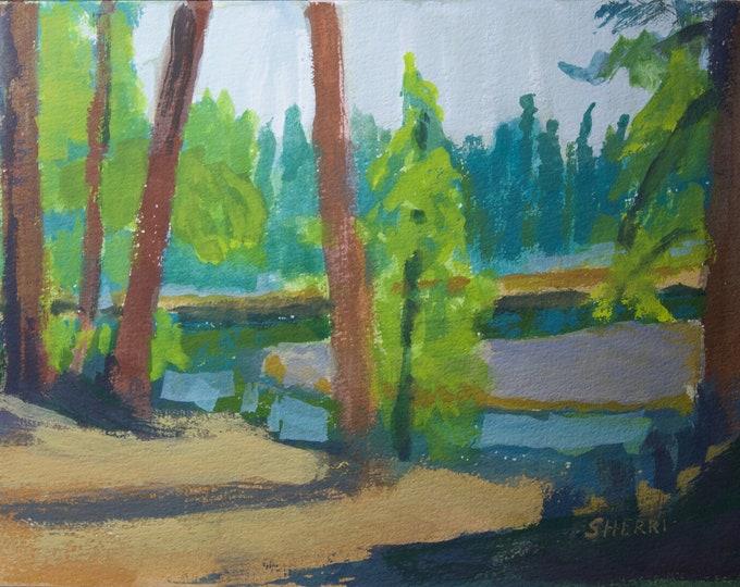 Deschutes River Near the Wickiup Dam Small Gouache Painting by Sherri McDowell Artist 6x9 inches unframed