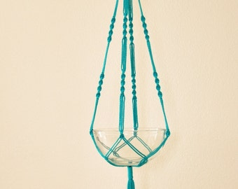 "Hand Crafted Macrame Plant Hanger- Turquoise 42""-45"" (Available in all colors)"