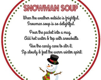 image regarding Snowman Soup Printable Tag titled Snowman choose tag Etsy