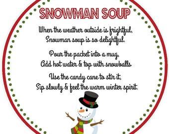 photo about Snowman Soup Poem Printable titled Snowman desire tag Etsy