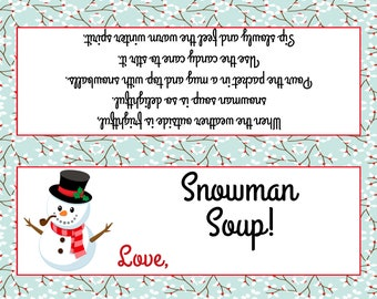graphic about Snowman Soup Free Printable Bag Toppers called Snowman soup Etsy