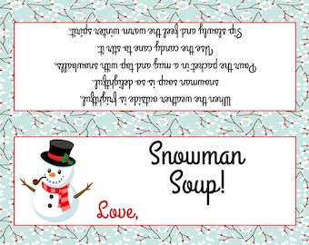 image about Snowman Soup Free Printable Bag Toppers named Snowman soup Etsy