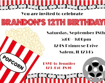 movie birthday party invitation digital file movie party etsy