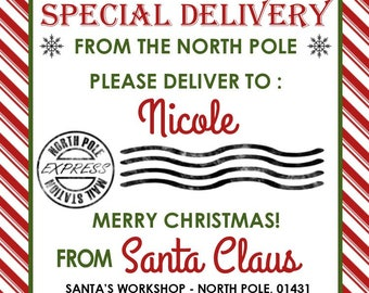 picture about Free Printable North Pole Special Delivery Printable referred to as Santa reward tag Etsy