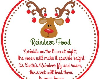Magic Reindeer Food Stickers Christmas Label Personalised Xmas Labels x 24