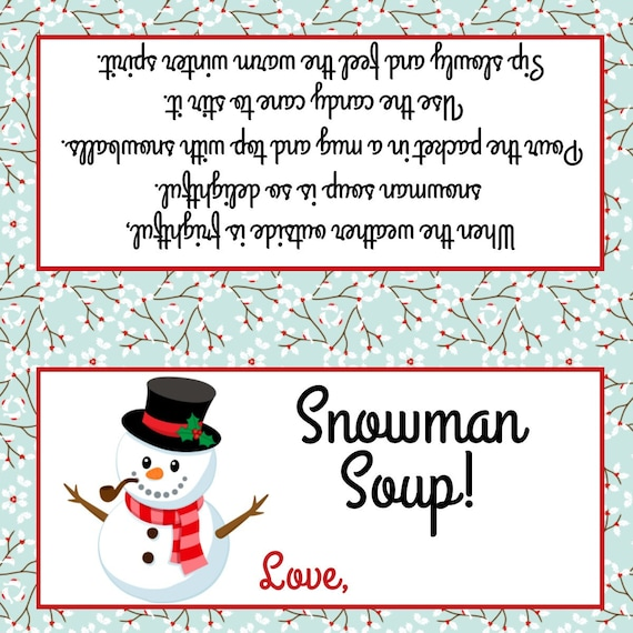 Zany image inside snowman soup printable tags