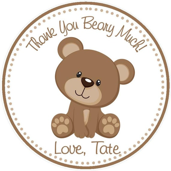 Brown Bear Baby Girl Shower Party Favor Tags Lavender /& Brown Set of 12 Thank you for coming to my shower!