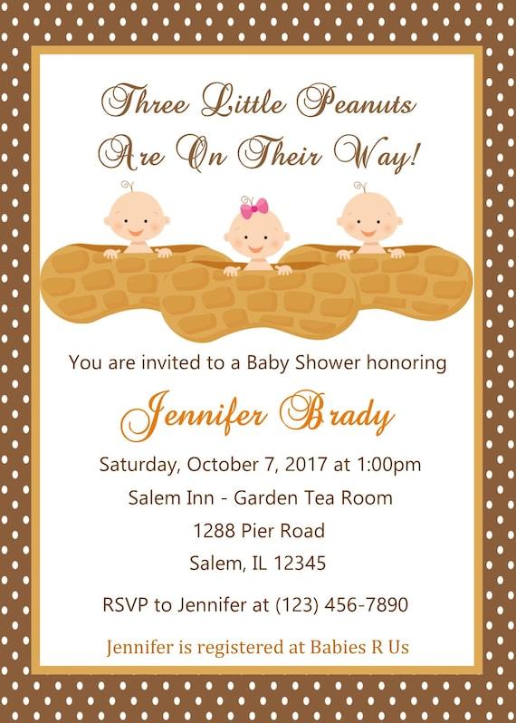Baby Shower Triplets Invitation Digital File Peanuts Triplet