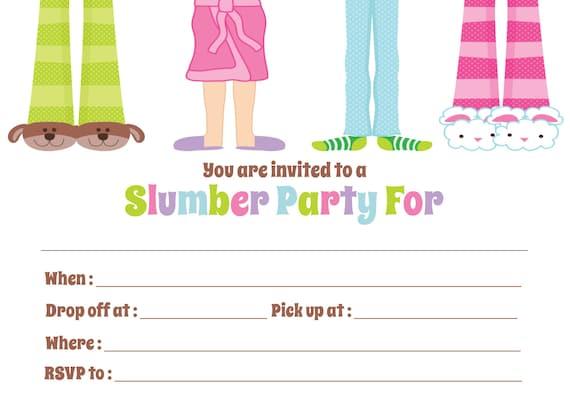 slumber sleepover party invitation fill in digital file etsy