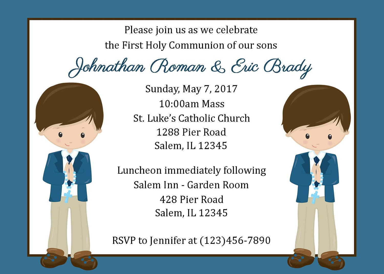 Invitación primera comunión gemelos / dos niños archivo