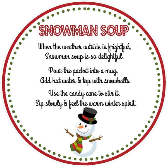 image relating to Snowman Soup Printable Tag identified as Snowman Soup Desire Tag - Printable Report - Quick Obtain